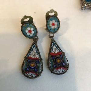 Exquisite vintage handmade mosaic clip earrings